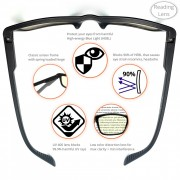 Computer glasses – Reading – 2 – Main Pic with high lights, hinge, tip, Impact resistant, UV